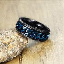 Hip Hop Tready Titanium Steel Mens Blue Cuban Chain Black Ring For Men Jewelry Dropshipping