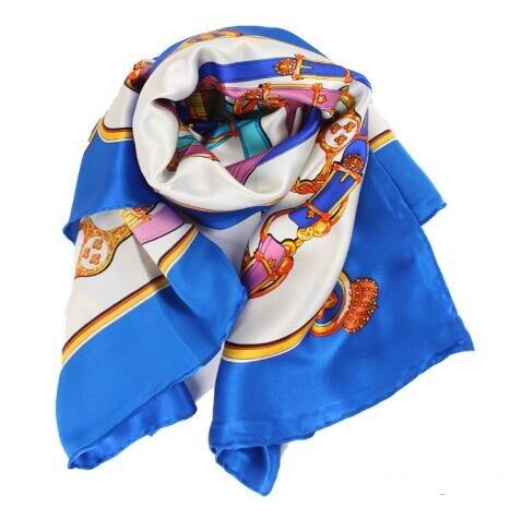 summer fashion women slik scarf meometric print color large shawl