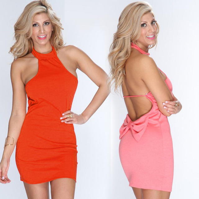 2ff5b57f68 Wonder Beauty Pink Orange Halter Mini Short Dresses Hot Sale Sexy Women  Bodycon Dress Bow Clubwear pink Halter Club Dress