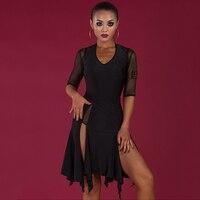 Latin Dance Dress Women Tango Salsa Cha Cha Rumba Samba Competition Dance Wear Black Irregular Stage Practice Clothes DNV10410