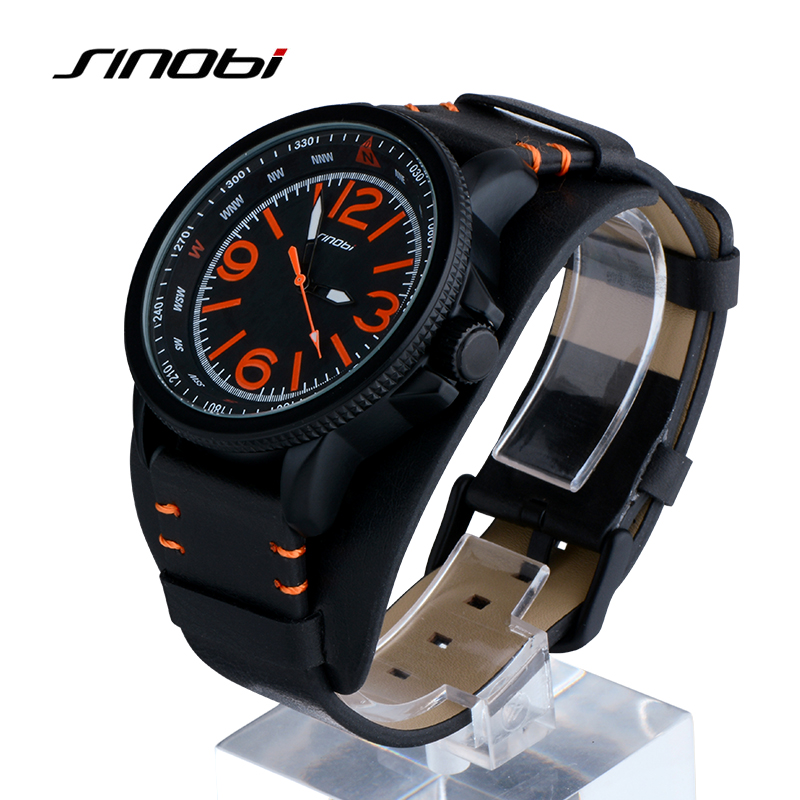 SINOBI Brand Waterproof Sport Watch Men Watch Fashion Wrist watches Black Leather Men's Watch Clock montre relogio masculino sinobi original vogue new design wrist watches for men dress office waterproof men watch travel factory directly sale relojes