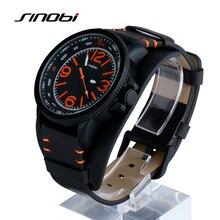SINOBI Marca Impermeable Reloj Deportivo Reloj de Los Hombres de Moda relojes de Pulsera de Cuero Negro Reloj de Hombre Reloj relogio masculino montre