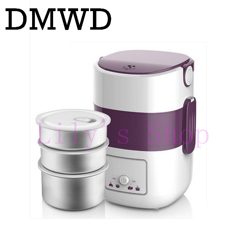DMWD 3 Layers Electric insulation heating lunch box pluggable Steamer electrical Rice Cooker stainless steel Food Container EU 3d unicorn dessert coffee office pouch thermal insulated neoprene lunch bag women kids lunchbags cooler insulation lunch box