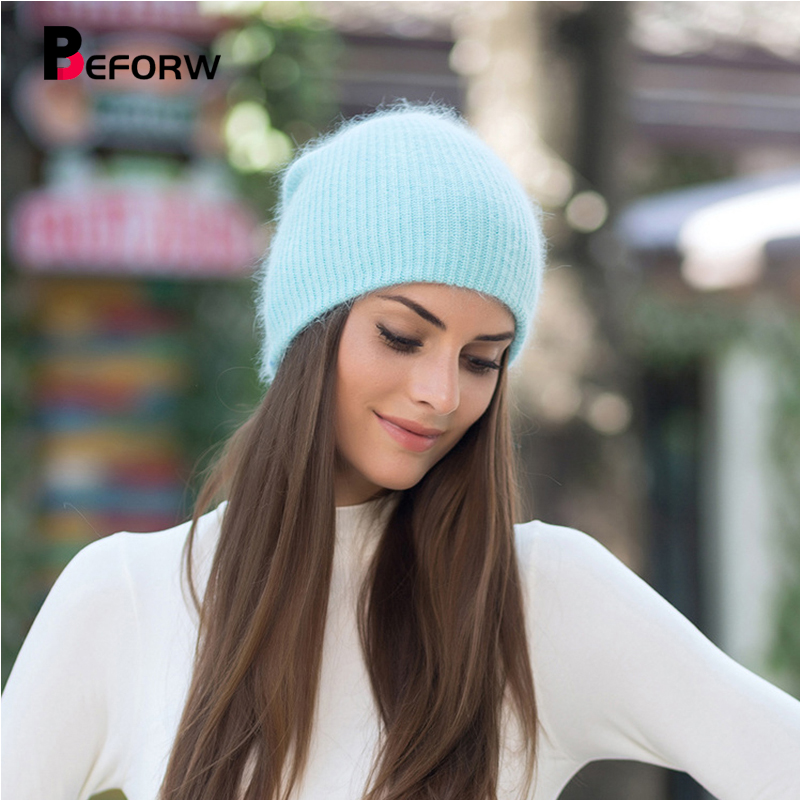 BEFORW Autumn Winter Hats For Women Men Caps Solid Rabbit Fur Warm   Beanie   Knitted Woolen   Beanies   Adult Casual Hats   Skullies