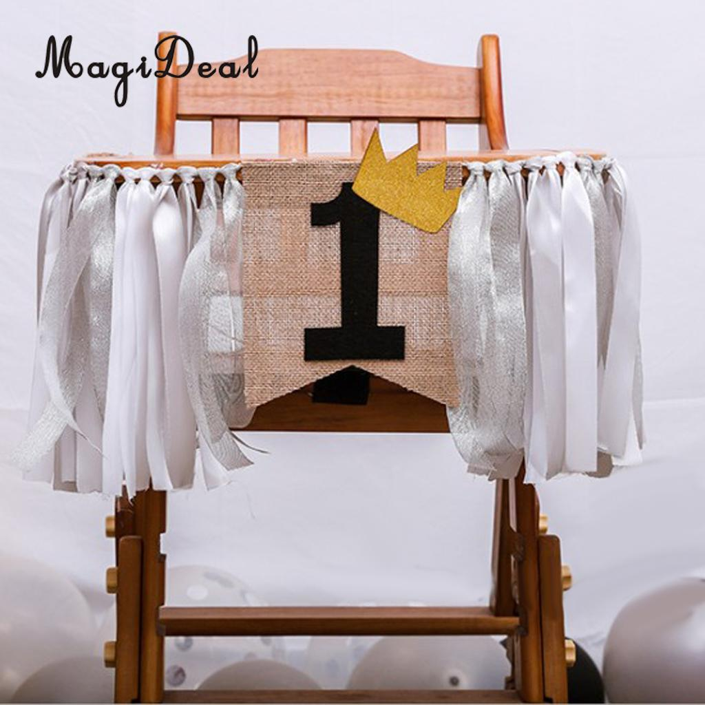 Baby Kids 1st Birthday Highchair Banner Crown Rag Tied Cake Smash Wall Decor Tribal Camping Decor 2 Meters
