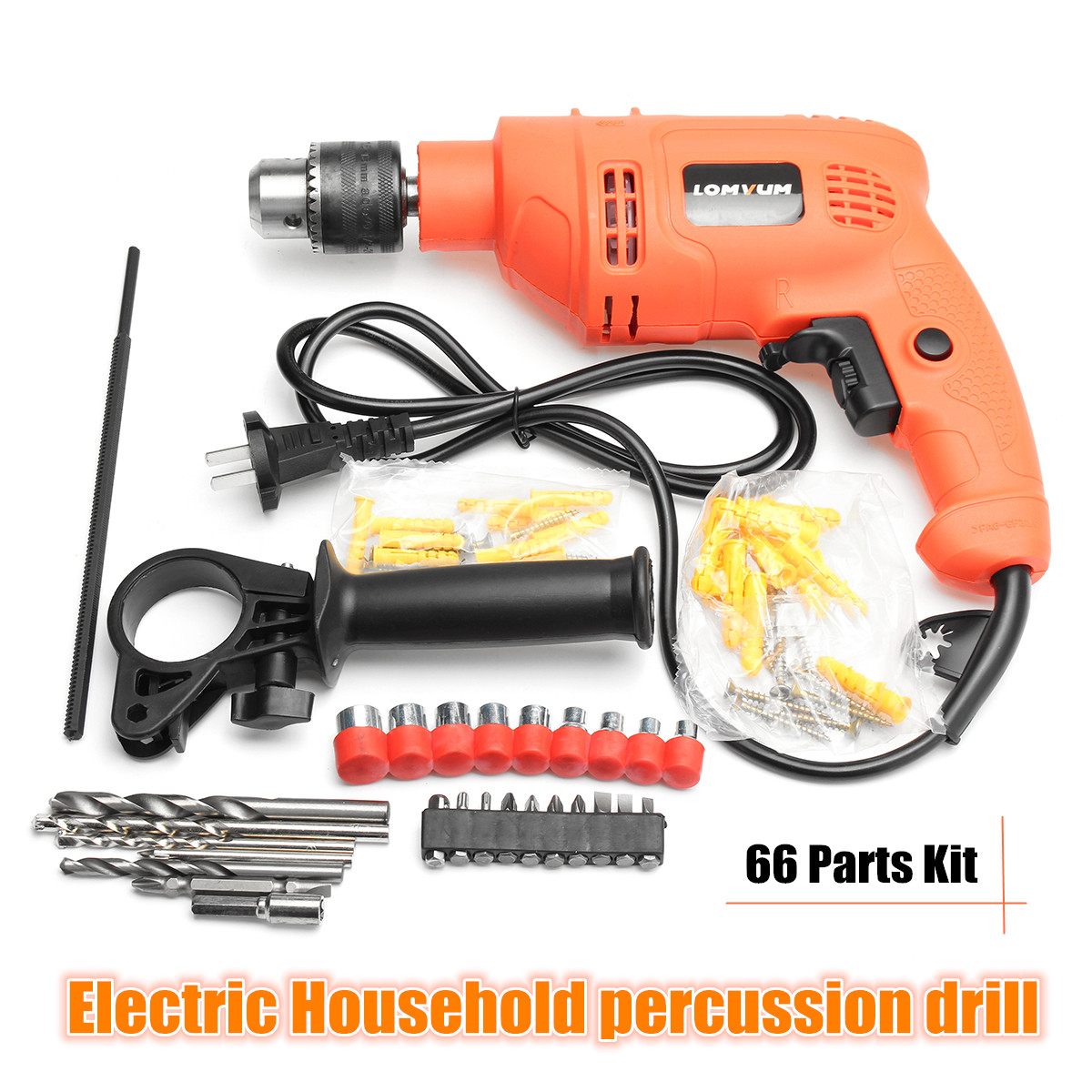 220V 600W Household Percussion Electric Drill Power Drills Impact Drill with 66 Pcs Sleeve multi purpose impact drill for household use la414413 upholstery drilling wall percussion impact drill set power tools 220v 810w