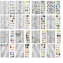 34 Designs Nail Stencil 60.7g Stencils For Polish 14.5*9.5cm Art Template Stickers Decorations Nail#P