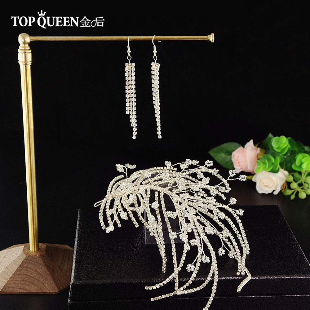 TOPQUEEN HP188 Wedding Tiara Bride Hair Jewelry Handmade By Diamond Wedding Hair Accessories Bridal Headwear Bridal Tiara