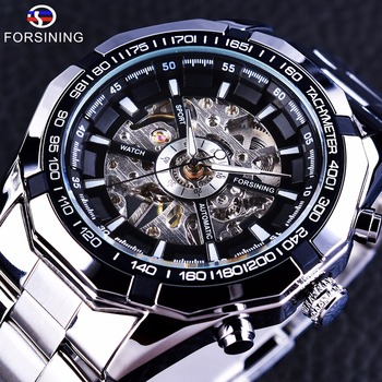 Forsining 2017 Silver stainless steel Waterproof Military Casual Sport Mechanical wristwatch watch for men Top Brand luxury watch