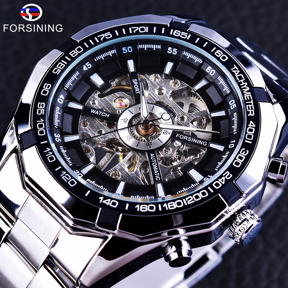 Forsining 2017 Silver Stainless Steel Waterproof Military Sport Casual Mechanical Wrist Watch Mens Watch Top Brand Luxury Clock