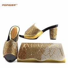 3240dc5da1fc Good Price Gold Color Summer African High Heels Matching Bag Design 2018 Wedding  Shoes And Bag