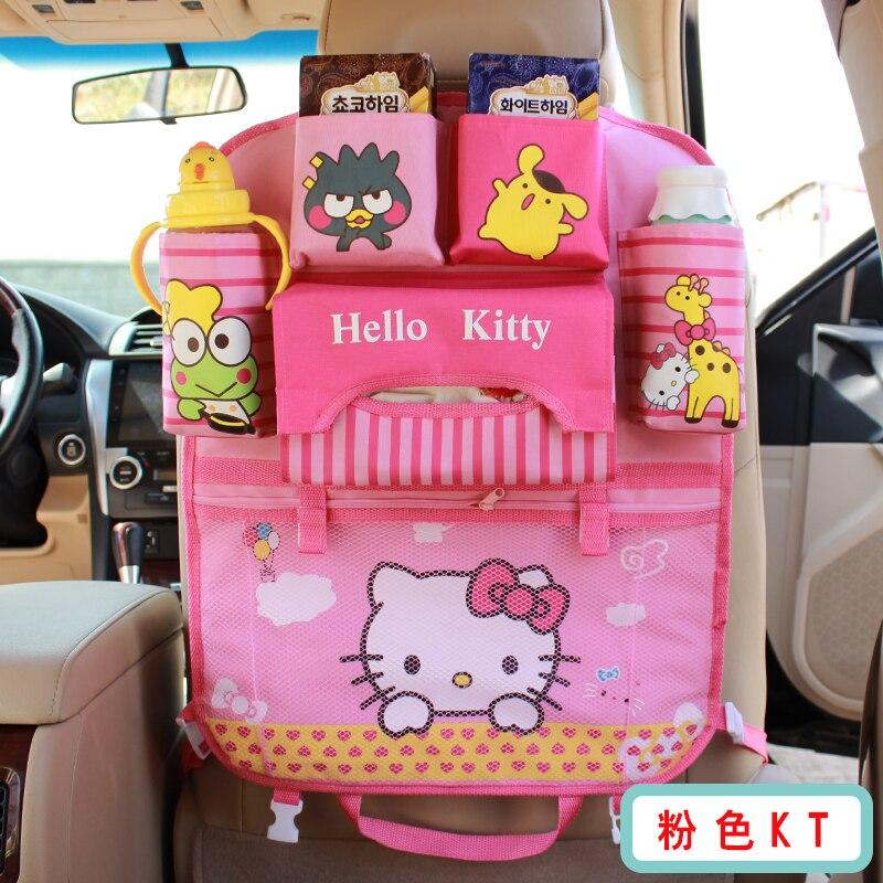 Cartoon Cute Kitty Car Seat Back Organizer Storage Bag Hanging Insulation Holder Car Organizador Bag for Children - Pink