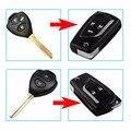 2 Botones/Del Tirón 3 Botones Modificado Plegable Shell Remoto Caso Clave Para Toyota Camry Corolla Corona Reiz RAV4 Cubierta Llavero Con El Logotipo