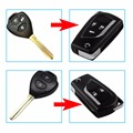 2 Buttons/3 Buttons Modified Flip Folding Remote Key Case Shell For Toyota Camry Crown Corolla Reiz RAV4 Key Fob Cover With Logo