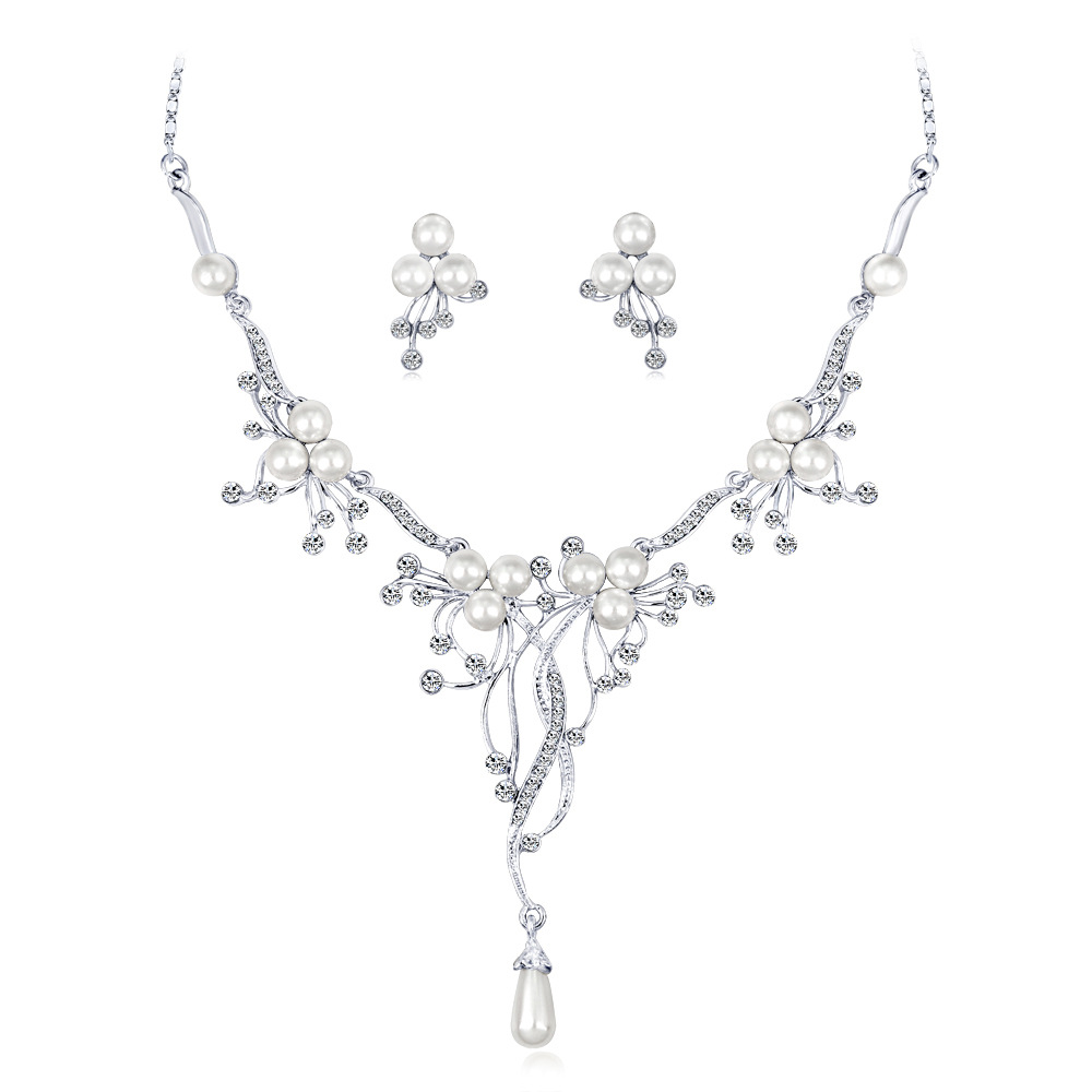 Pearl Necklace Fashion  Wedding Matching Necklace Set(China)