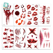 New Arrival Waterproof Temporary Tattoo Sticker Halloween Terror Wound Realistic Blood Injury Scar Fake