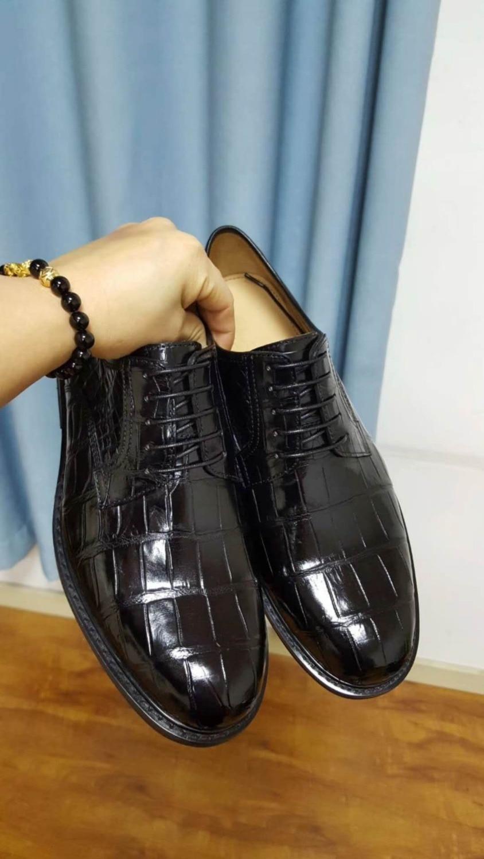 dfc36feab De Da Oficial Crocodilo 100 Qualidade Sapato Luxo Real Barriga Base Sólida  Preto Genuíno Pele Negócios Homens ...
