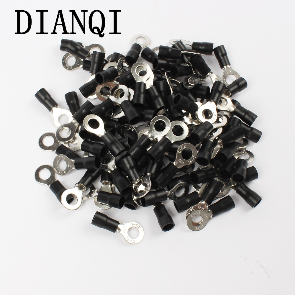 DIANQI RV3.5-6 Black Ring insulated terminal suit 2.5-4mm2 cable Crimp Terminal  Cable Wire Connector 100PCS/Pack RV3-6 RV 15pcs a w g 14 6 copper cable lug tube wire crimp terminal ring connector 88a