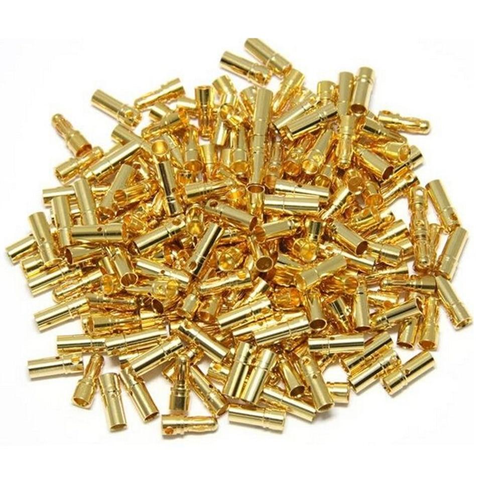10 Pair/lot Gold Copper Brushless Motor Banana Plug Bullet Connector Plated For ESC Battery 2mm