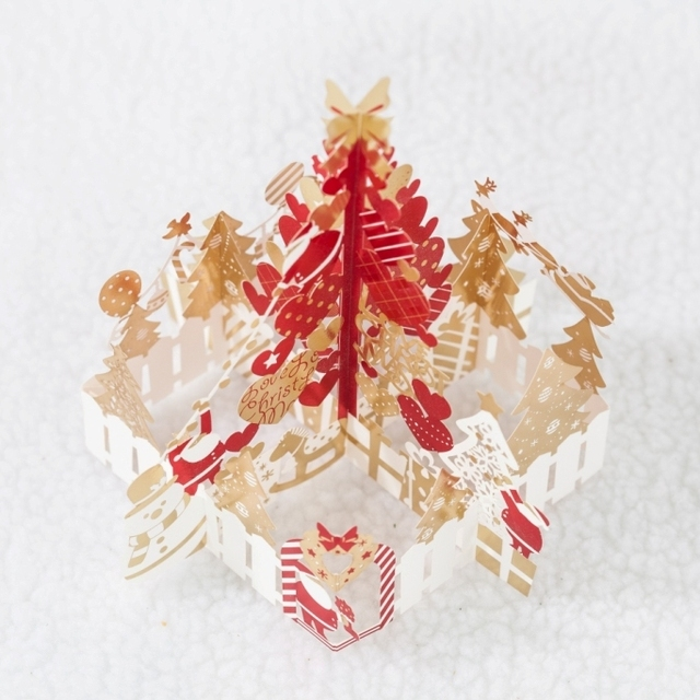 WISHMADE Standing Paper Christmas Pop Up Tree with Christmas Message ...