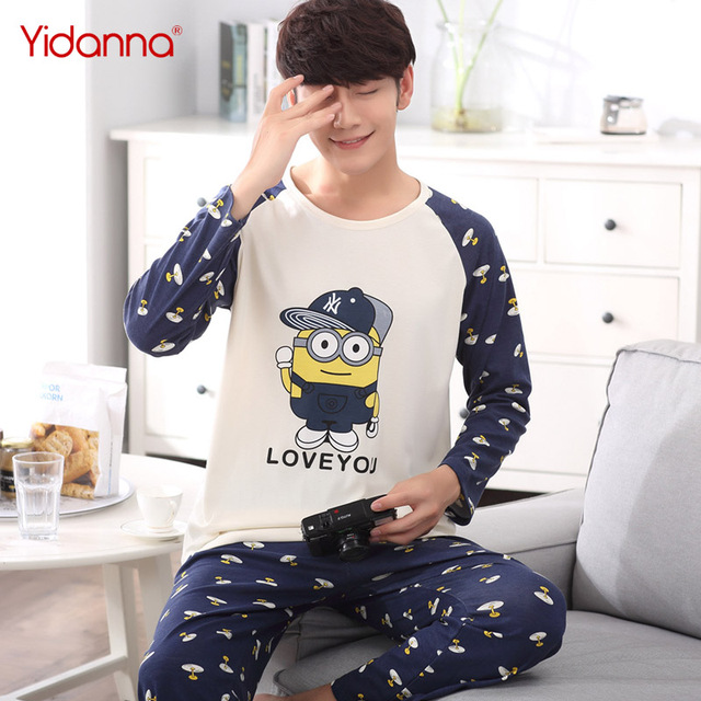 yidanna Long Sleeved Pajama Set Men Cotton Plus Size Sleepwear Male Sleep  Clothing Nightie Casual Bear Stitch Pyjama in Autumn 2dc37bdb3