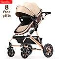 TIANRUI Детская Коляска 3 в 1 8 Бесплатные Подарки Складной перевозки Коляска коляска Коляска Высокого Пейзаж Новорожденного Автомобиль 4 колеса