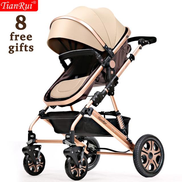 TIANRUI Carrinho De Bebê 3 em 1 8 Brindes Dobrável Carriage Buggy Pushchair Pram Alta Paisagem Newborn Infant Car 4 rodas