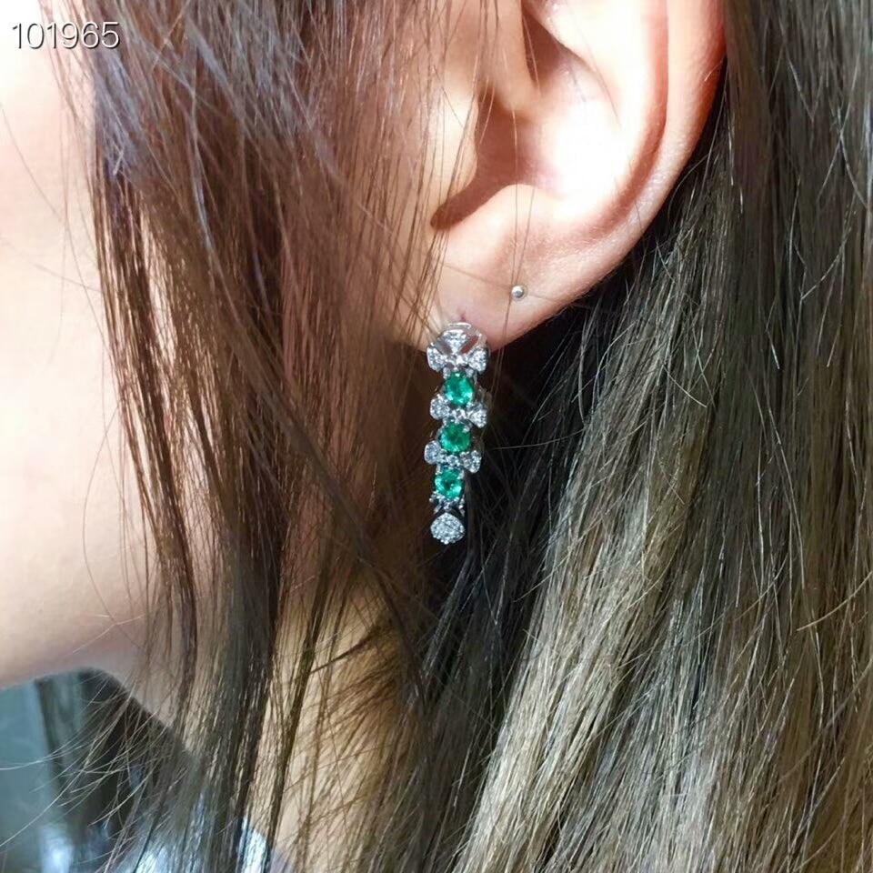 [MeiBaPJ]Natural Columbia Emerald Gemstone Drop Earrings Real 925 Silver Long Earrings Fine Charm Jewelry for Women-in Earrings from Jewelry & Accessories    2