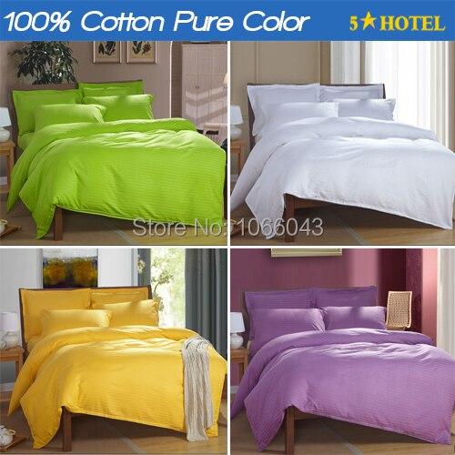 Bedding set 100% Cotton Bed linen Satin Hotel Pure color comforter Bed sets(duvet cover+sheet+pillowcase) edredon ropa de cama