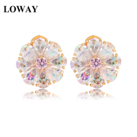 LOWAY Luxury Trendy Perfect Pearl Cut Rainbow Cubic Zircon Flower Earrings For Women Champagne Gold Color