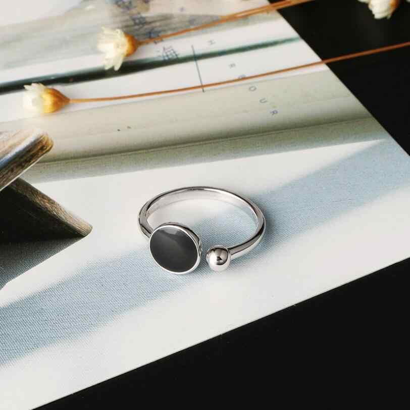 Модные Простые геометрические битник Круглый Смола кольца работы для Для женщин 925 пробы Серебряные ювелирные изделия вечерние подарок SAR79