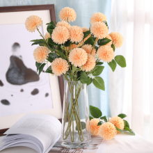 5pcs/Lot 3 Heads Artificial Dandelion Flower With Fake Green Leaves Silk Branch Flowers Autumn Farmhouse Home Decoration H0062