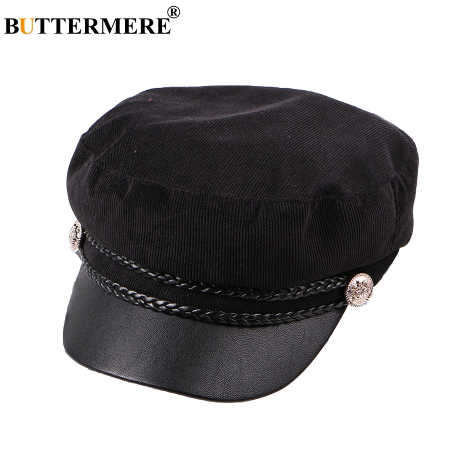 BUTTERMERE Navy Captain Hat Women Black Army Caps Female Spring British Sailor Cap Lady Polyester Patchwork Casual Painters Caps in Women 39 s Military Hats from Apparel Accessories