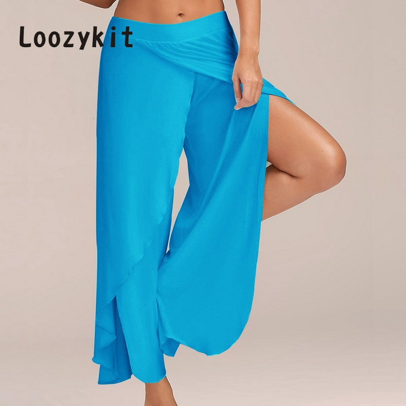 LOOZYKIT Plus Size Split Casual Loose   Wide     Leg     Pants   Women Plsu Size Long   Pants   Solid Low Waist Trousers Female pantalon mujer