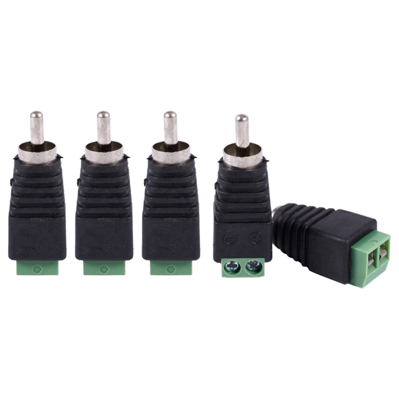 5pcs UTP Cat5 Cat6 Cable To CCTV AV Phono RCA Male Jack Plug Adapter