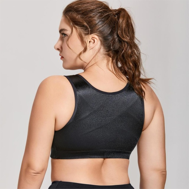 Back Support Zip Front Close Plus Size Sports Bra
