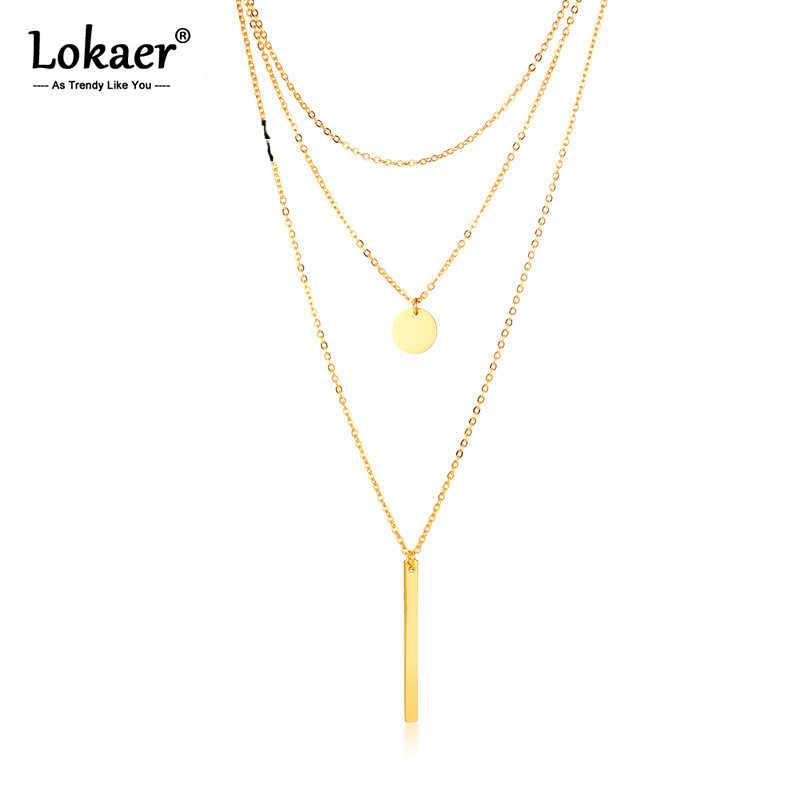 Lokaer Fashion Rectangular Small Round Ladies Necklace Stainless Steel Geometric Three-layer Chokers Necklace Gold JNC428