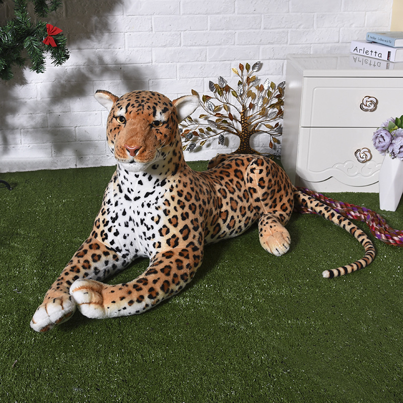 big plush simulation leopard toy stuffed lifelike leopard doll gift about 110cm simulation white phoenix toy lifelike beautiful long tail bird gift about 50cm