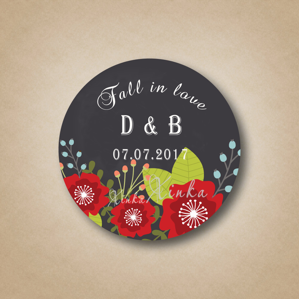 Fall in Love Gift Labels Customized Chalkboard Style Stickers ...