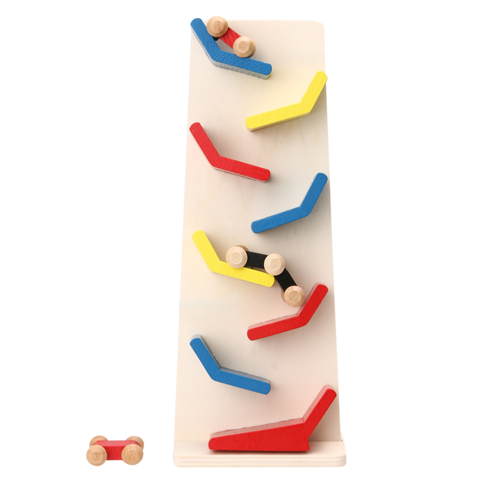 Funny Mini Wooden Cars Vertically Rail Click Clack Moving Car Toy Racetrack Racing Car Slide Toy for Children