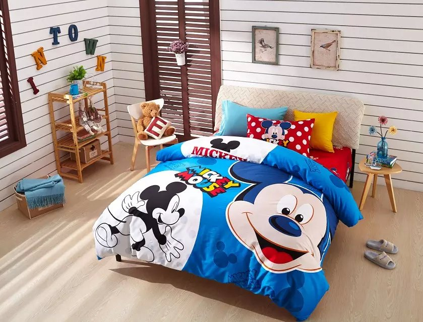 blue Mickey Mouse print bedding set for boys childrens kids home decor Egyptian cotton bedspread twin full queen size bed covers