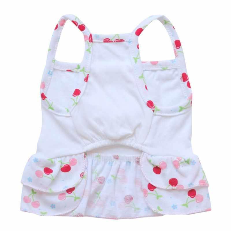 Летняя жилетка для собак и кошек, платье-майка, фруктовый плавательный костюм, двухслойная сногсшибательная юбка для щенка, футболка для маленькой собаки