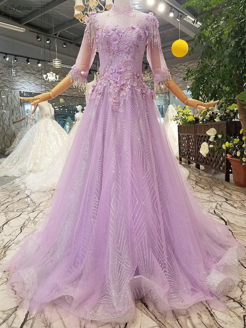 Lilas col haut robe de bal 2019 paillettes perles gland Appliques demi manches robe de gala robes de bal vestidos cerimonia longos