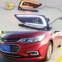 For Chevrolet Cruze 2016 2017 Daytime Running Light DRL LED Fog Lamp Cover With Yellow Turning Signal Functions(China)