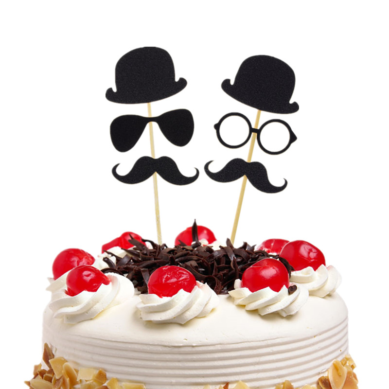 Little Man Cake Toppers Happy Birthday Gentleman Hat Glasses Mustche Happy Father