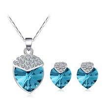 Romantic Love Heart Crystal Necklace Earrings Sets Fashion Luxury Silver Color Stud Earrings Rhinestone Jewelry Sets for Women
