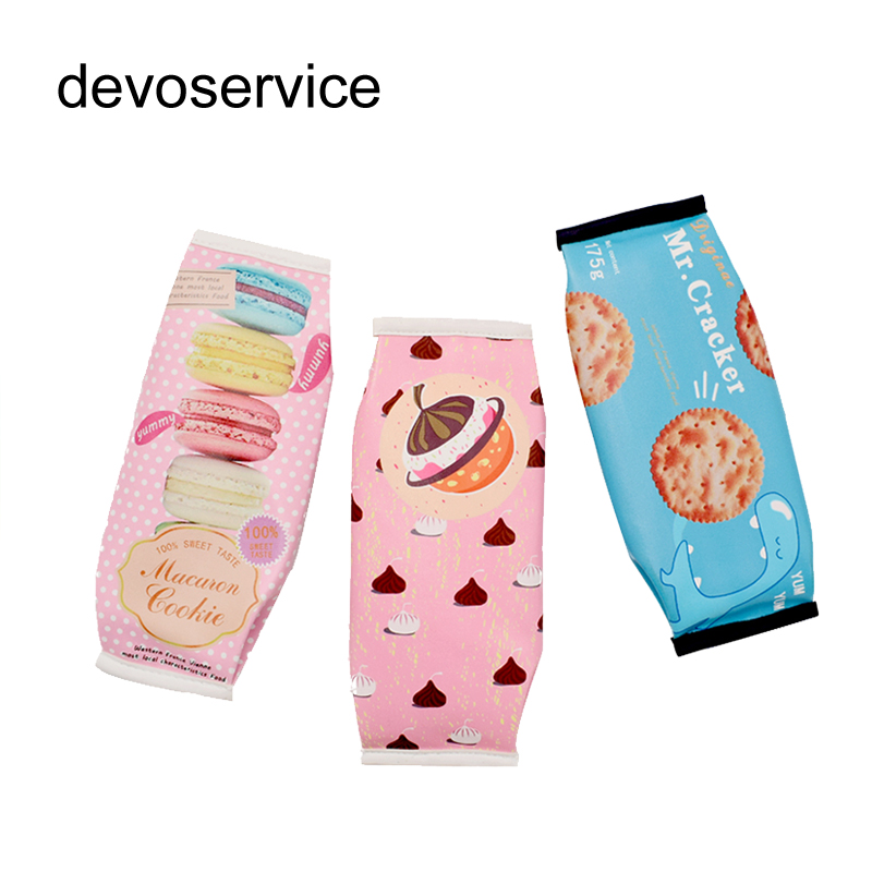 Korean Creative Macaron Pencil case Pencil Box Pencil Bag Leather Kawaii Stationery Pouch Office School Supplies