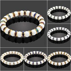 Image 4 - 11 Style Natural Stone Chakra Elastic Bracelet Men White Porcelain Healing Balance Beads Reiki Buddha Prayer Bracelet For Women