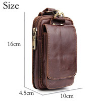 Universal Men Genuine Leather Wallet Bag for iPhone 8plus 6 Luxury 5.5 inch Brown Waist Belt Pack Cell Phone Purse Case Lanyard