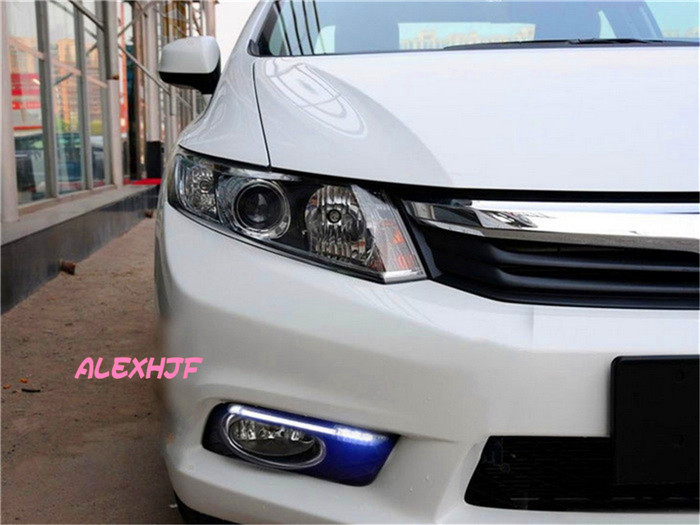 July King LED Light Guide Daytime Running Lights DRL With Fog Lamp Cover case for Honda Civic 9th 2012~14, 1:1, free shipping july king led light guide daytime running lights drl with fog lamp cover led fog lamp case for ford escort 2015 on 1 1 replace
